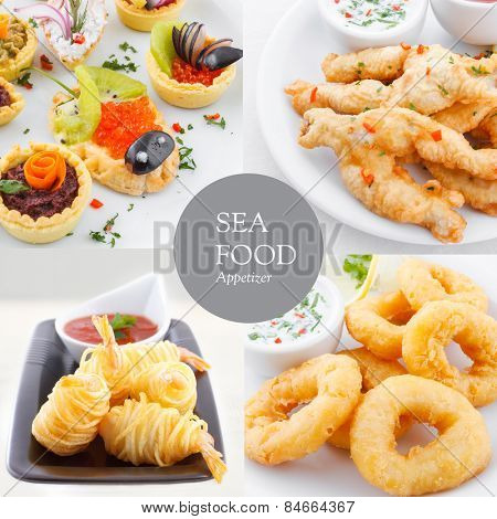 Fried seafood appetizer platter with fish, shrimp, calamari, frog legs and fish eggs, collage