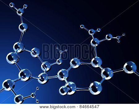 Abstract molecular structure. Isolated on white background