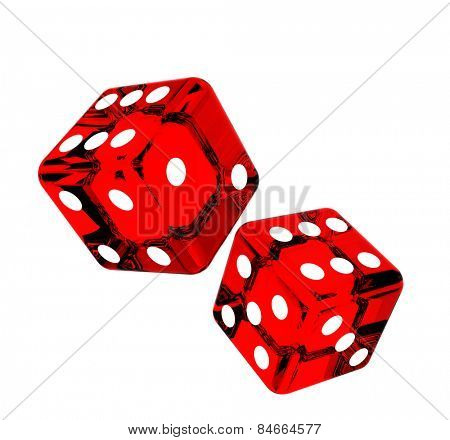 Falling red dice for gambling. Isolated on white background