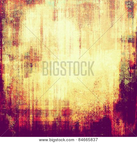 Grunge texture with decorative elements and different color patterns: yellow (beige); purple (violet); red (orange); pink