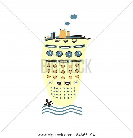 Cute cartoon ship