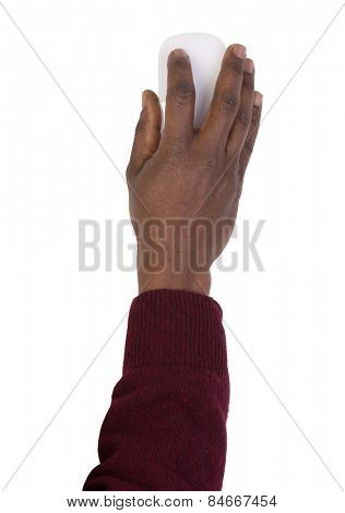 Man's hand holding a computer mouse, isolated on white