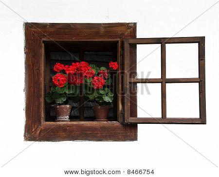 Opened Traditional Wodden Window With Red Flowers