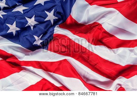 rumpled american flag close up