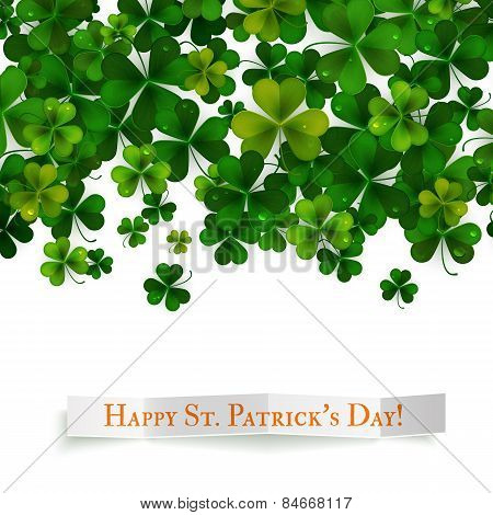 Saint Patricks Day Vector Background, Realistic Shamrock Leaves
