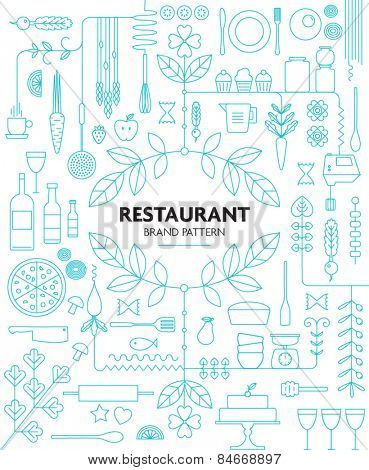 RESTAURANT BRANDING LINE PATTERN DESIGN TEMPLATE. Vector illustration file with editable graphic design elements: typography, dividers, frame, decorative elements, icons, symbols etc.