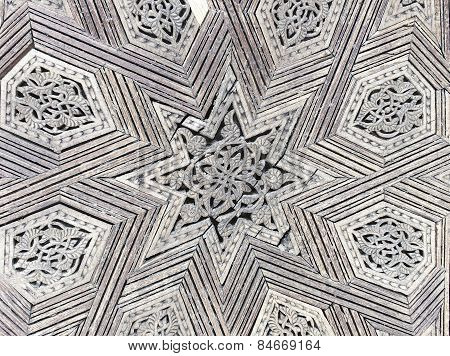 Intricate Wood Filigree On A Gate To The Palace Of The King Of Morocco