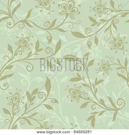 Seamless pastel green floral spring vector background.