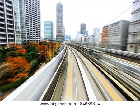 Speed train moving