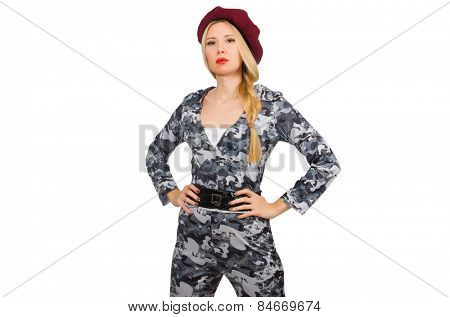 Woman soldier isolated on white
