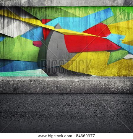Abstract 3D Graffiti Fragment On The Concrete Wall