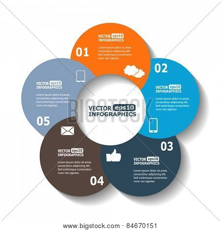 Modern circle infographics for e-business, diagrams, charts, web sites, mobile applications, banners, corporate brochures, book covers, layouts, presentations etc. Vector eps10 illustration