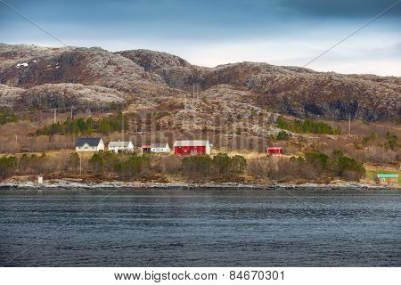 Traditional Norwegian Village With Colorful Wooden Houses