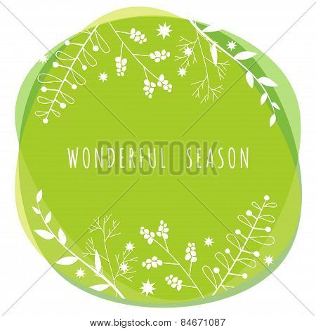 Vector Illustration With Template Text Wonderful Season. Creative Design For Wedding Invitations, Gr