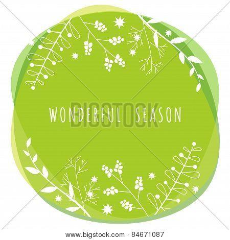 Vector Illustration With Template Text Wonderful Season. Creative Design For Wedding Invitations, Gr