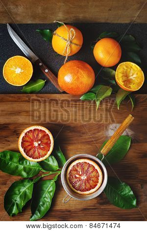 Blood Orange Fruit Close Up On Wooden Table