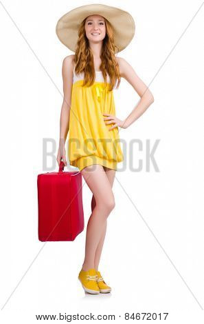 Young nice girl with travel case isolated on white