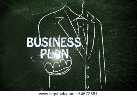 Business Manhanding Out The Word Business Plan