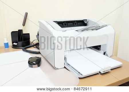 Printer and paper closeup