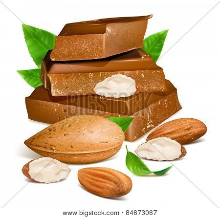 Chocolates with almonds. Vector illustration