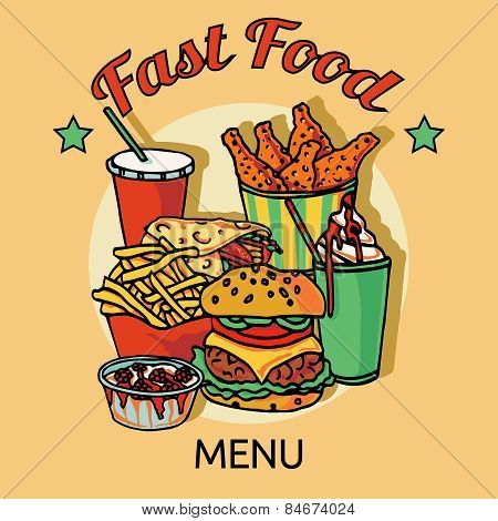 Fast food chain menu poster