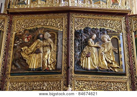 HALLSTATT, AUSTRIA - DECEMBER 13: Meeting at the Golden Gate, Visoitation of the Virgin Mary, Maria am Berg church on December 13, 2014 in Hallstatt, Austria.