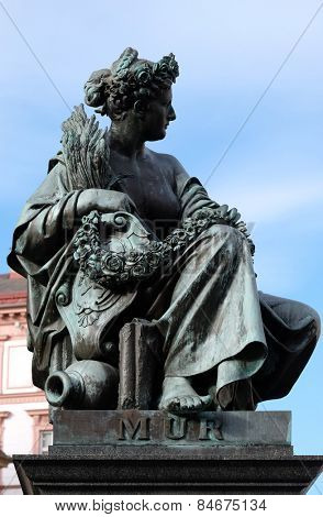 GRAZ, AUSTRIA - JANUARY 10, 2015: Archduke Johann Fountain, allegorical representation of the river Mur, Hauptplatz square, Graz, Styria, Austria on January 10, 2015.
