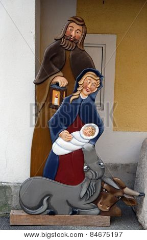 HALLSTATT, AUSTRIA - DECEMBER 13: Nativity scene, creche or crib, is a depiction of the birth of Jesus on December 13, 2014 in Hallstatt, Austria.
