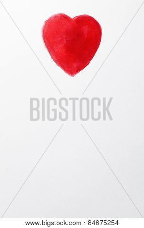 White Sheet Of Paper With Red Heart