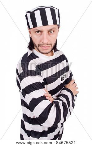 Prison inmate isolated on the white background