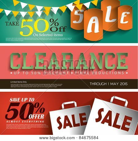 Sale Vector Poster, 3D Paper Graphics