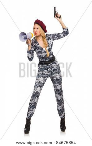 Woman soldier with gun and loudspeaker isolated on white