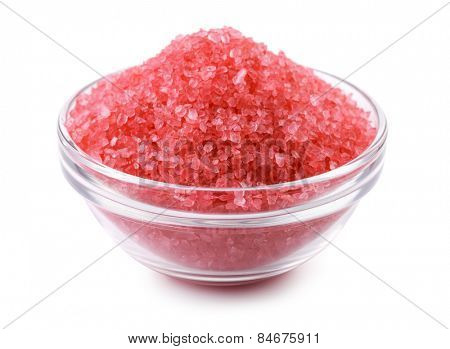 Rose bath salts isolated on white