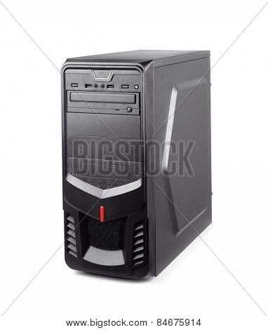 Black computer system unit isolated on whte
