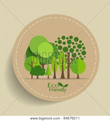 Nature banner, Eco organic labels and cards with Abstract trees. Vector illustration.