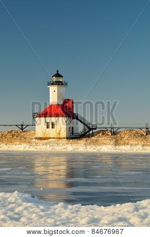 Lighthouse on Frozen Canal