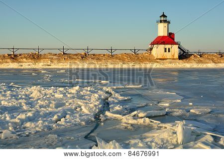 Lighthouse with Cracked Ice in Foreground