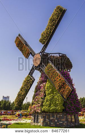 Mill of flowers in a park in Miracle Garden