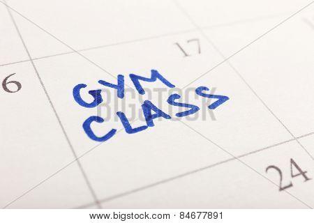Written plan Gym Class on calendar page background