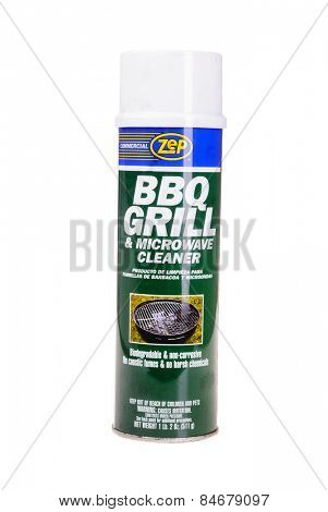 Hayward, CA - February 23, 2015: Spray can of ZEP brand microwave and barbecue grill cleaner-Illustrative Editorial