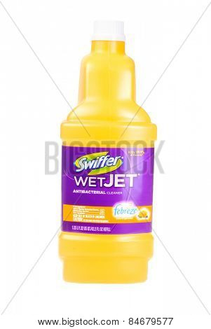 Hayward, CA - February 23, 2015: 1.25 liter bottle of Swiffer WetJet antibactereal floor  cleaner -Illustrative Editorial