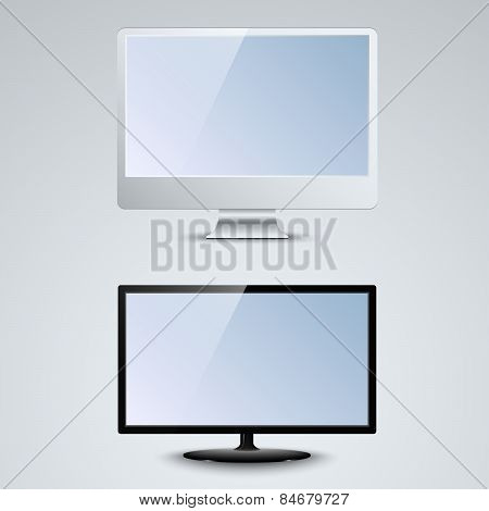 White And Black Lcd Monitor Template