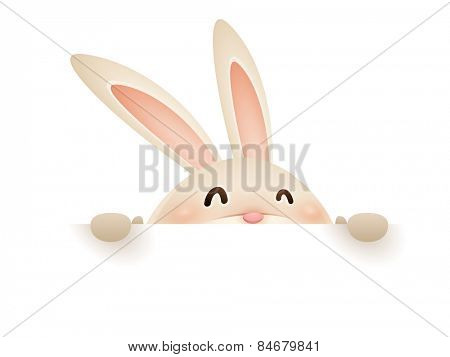 Easter bunny with big sign