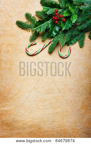 Christmas background with candy canes and spruce branch