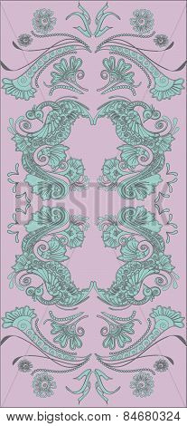 Royal magic fairy tale birds and flowers pattern.