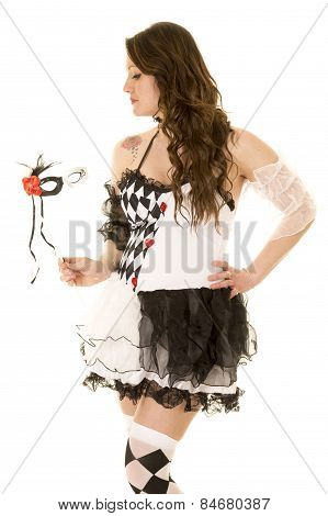Woman In A Black And White Costume Look Side Close
