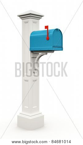 Retro blue mailbox isolated on white background 3D
