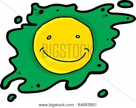 Smiling Green Fried Egg