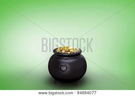 pot of gold against green vignette
