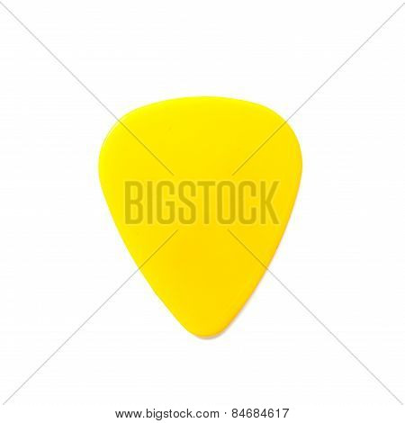 Yellow Guitar Pick Isolated On White